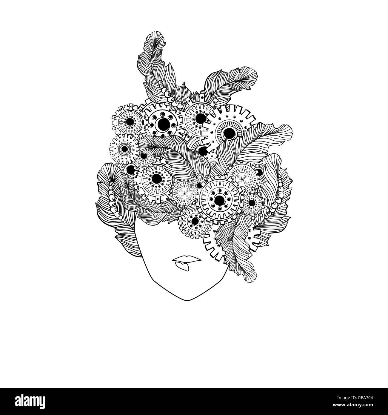 Coloriage Anti Stress Visage.Concept Line Art Avec Cheveux Mesdames Stylise Avec Des