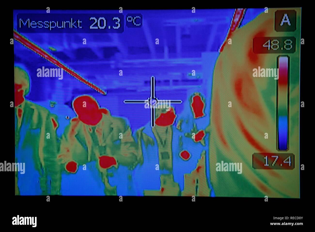 Image d'une caméra à imagerie thermique qui mesure la température du corps de personnes à pied passé Photo Stock