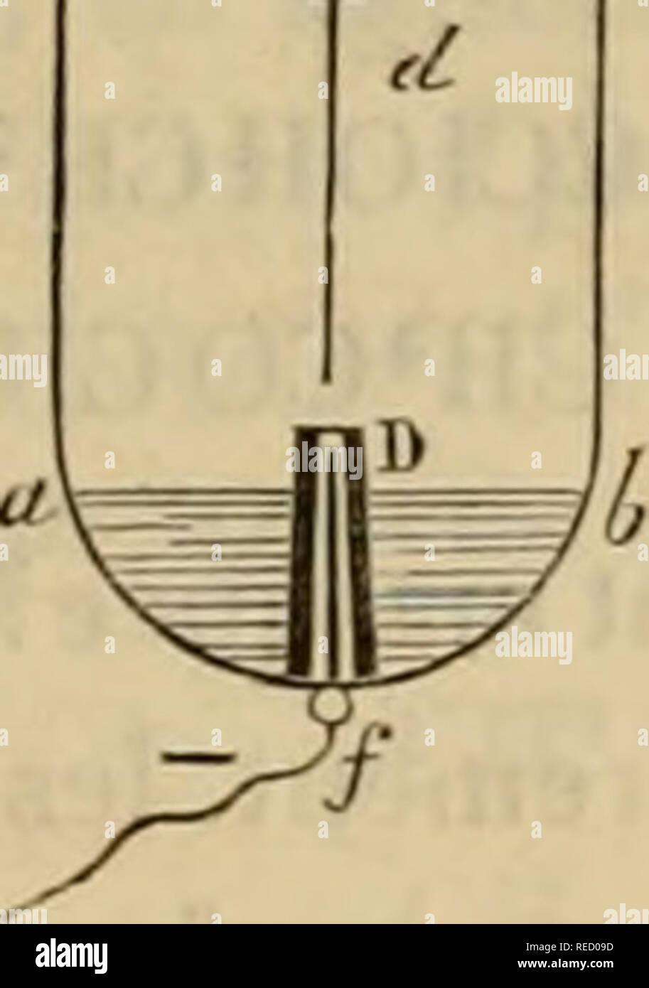 """. Comptesrendusheb81acad. es naturelles. Une lubrification, dans lequel le verset le liquide à analyser. B, tube capillaire dans lequel est soudé le fil de platine cd qui constitue l'élec- trode supérieure. C, bouchon de¨lià ge fermant le tube une; il supporte B et lui permet de se mou- voir-à frottement doux. D, petit tube capillaire un peu conique, coiffant l'électrode intérieure/. J, électrode supérieure. /, électrode inférieure. ab, niveau du liquide.¨centimà article length i tre, mobile, et qui coiffe l'électrode inférieure ^ en la dépassant de 4 millimître. Â"""" pour faire fonctionner l'appar Banque D'Images"""