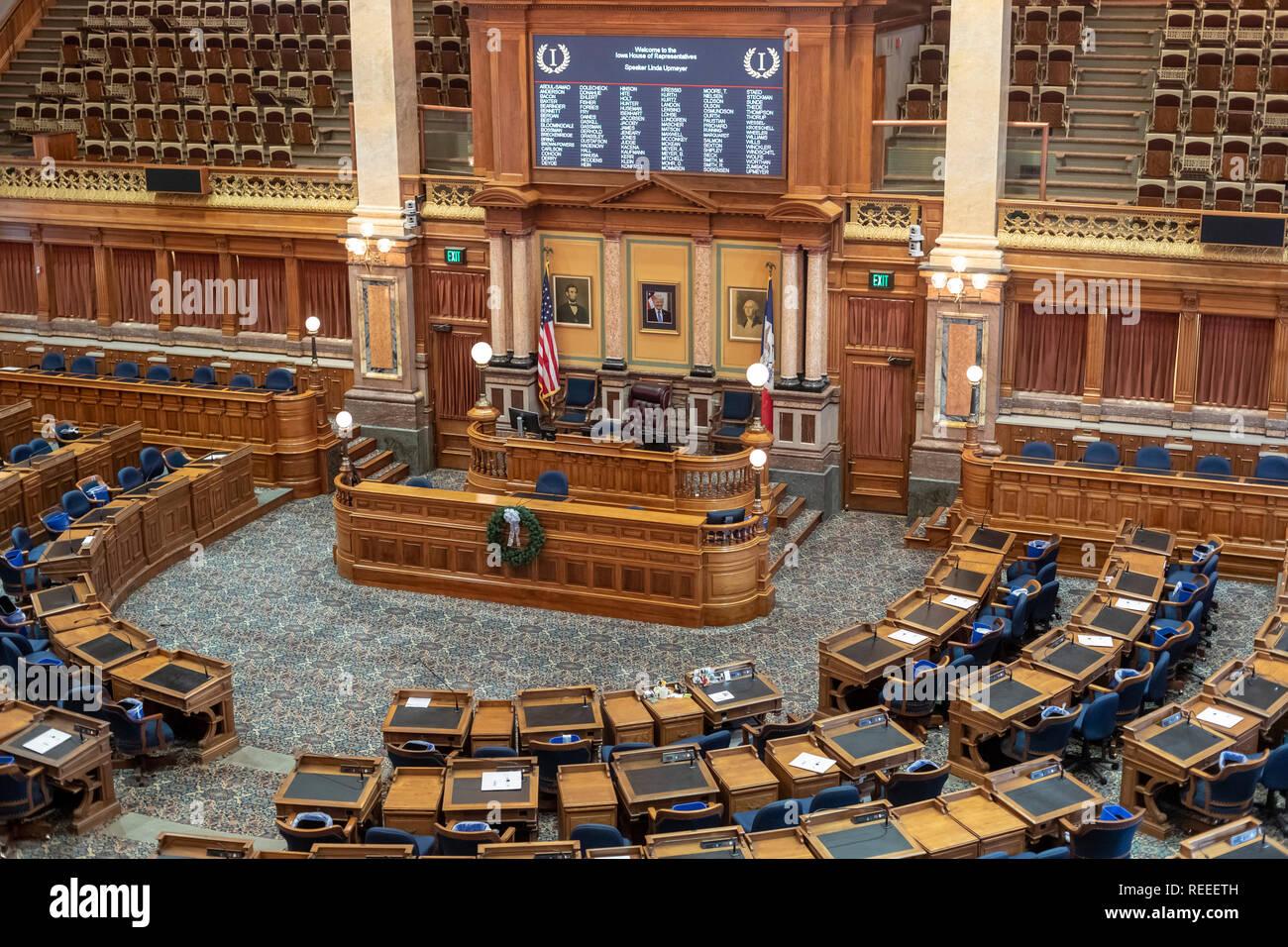 Des Moines, Iowa - La Chambre des représentants dans l'Iowa State Capitol building. Banque D'Images