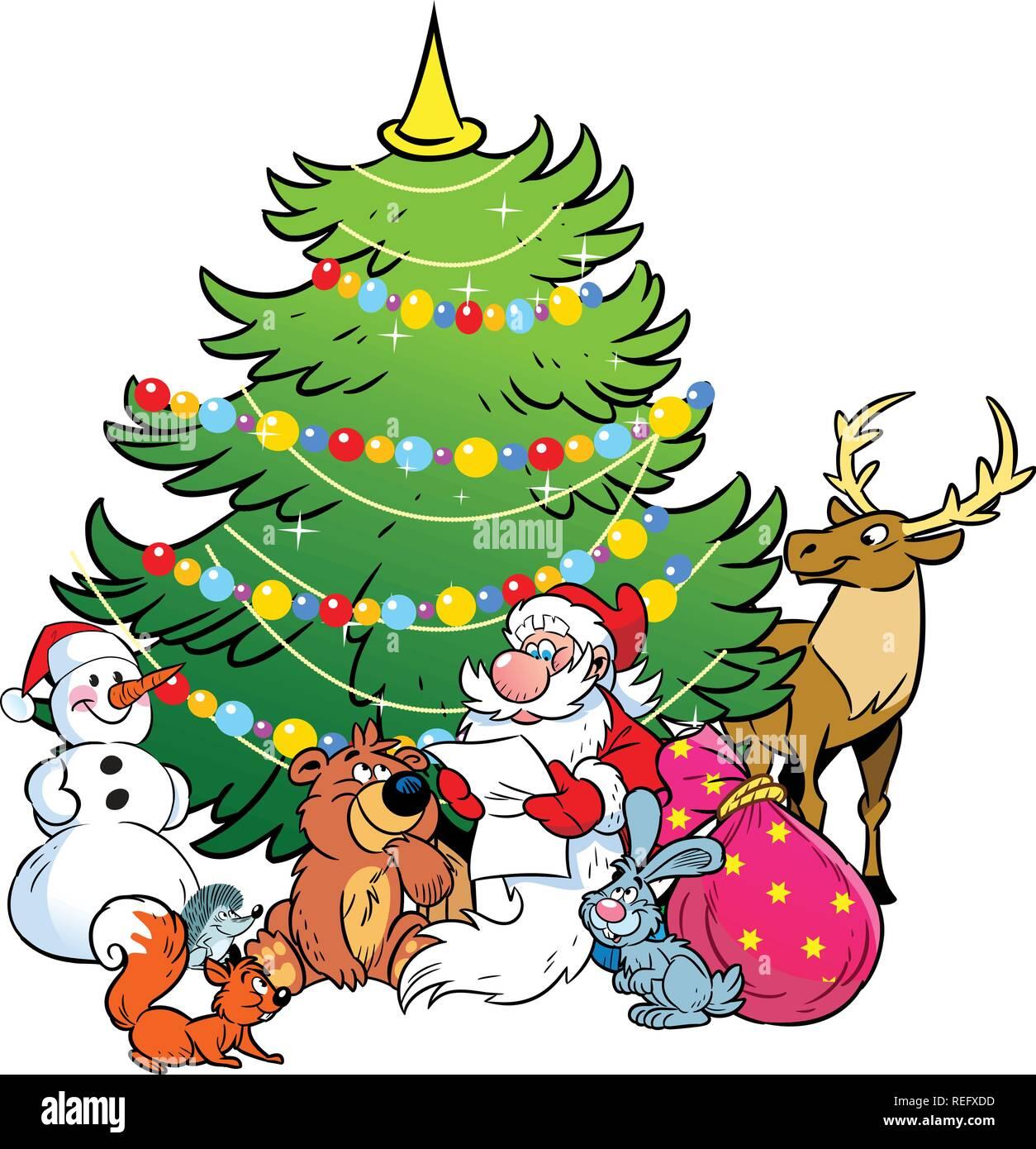 L'illustration montre le bonhomme de neige et le Père Noël, qui lit la liste de cadeaux des fêtes pour les animaux sur l'arrière-plan d'arbre de Noël. Illustration de Vecteur