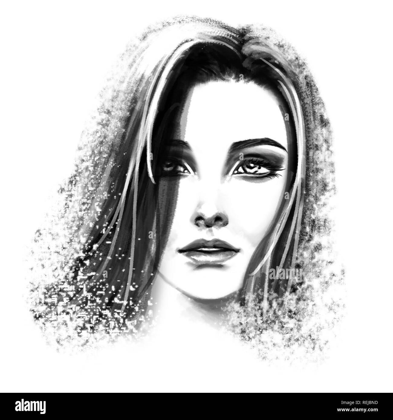 Noir Et Blanc Femme Tête Portrait Dessin à La Craie Banque D