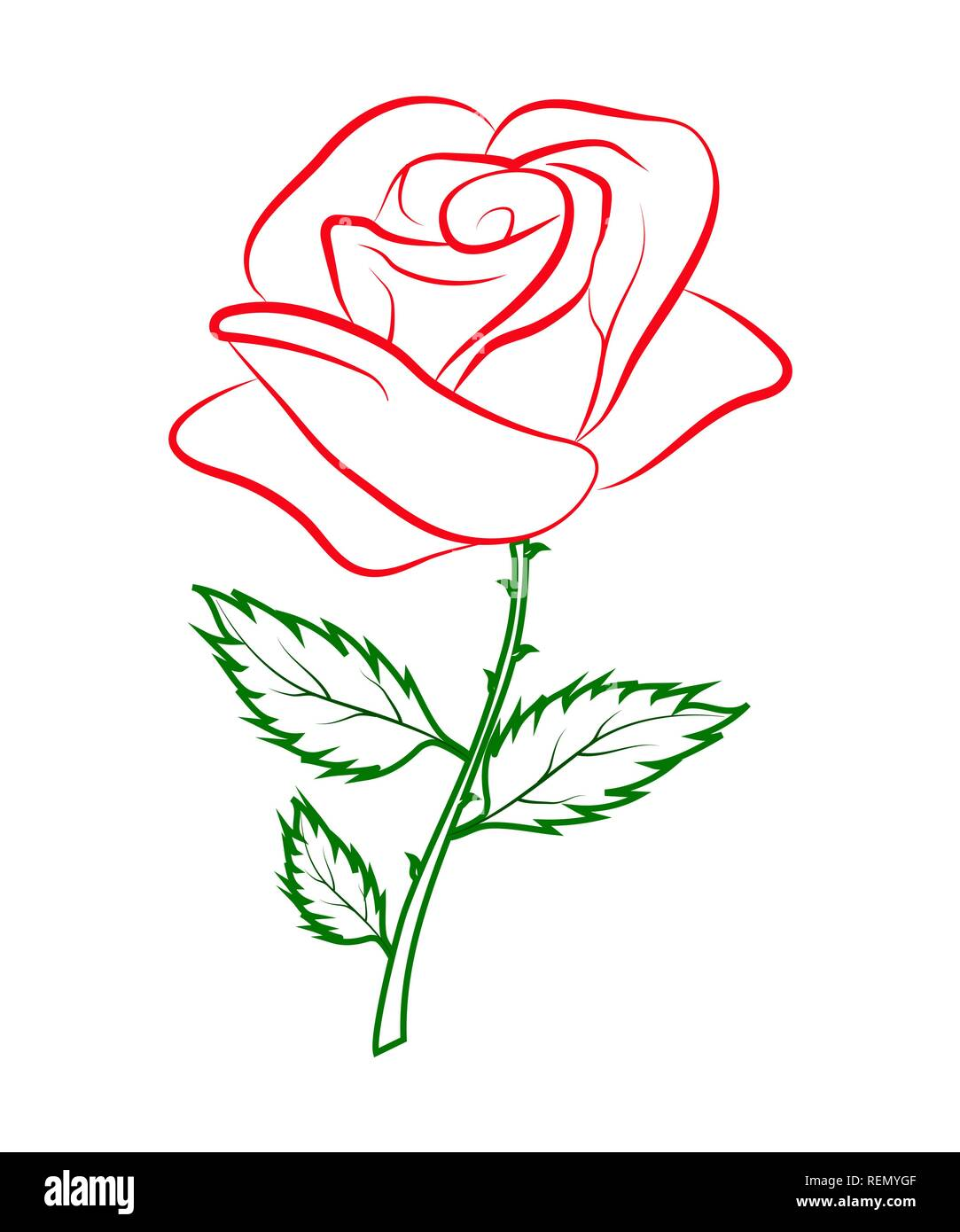 Contour Simple Dessin Couleur D Une Rose Rouge Sur Un
