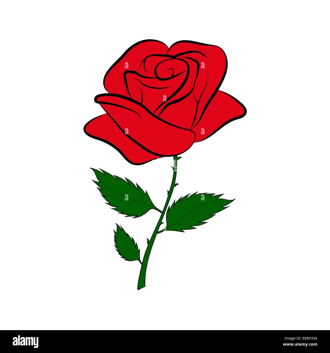 Silhouette de couleur simple dessin d 39 une rose rouge sur un p doncule vert vecteurs et - Dessiner une rose facile ...