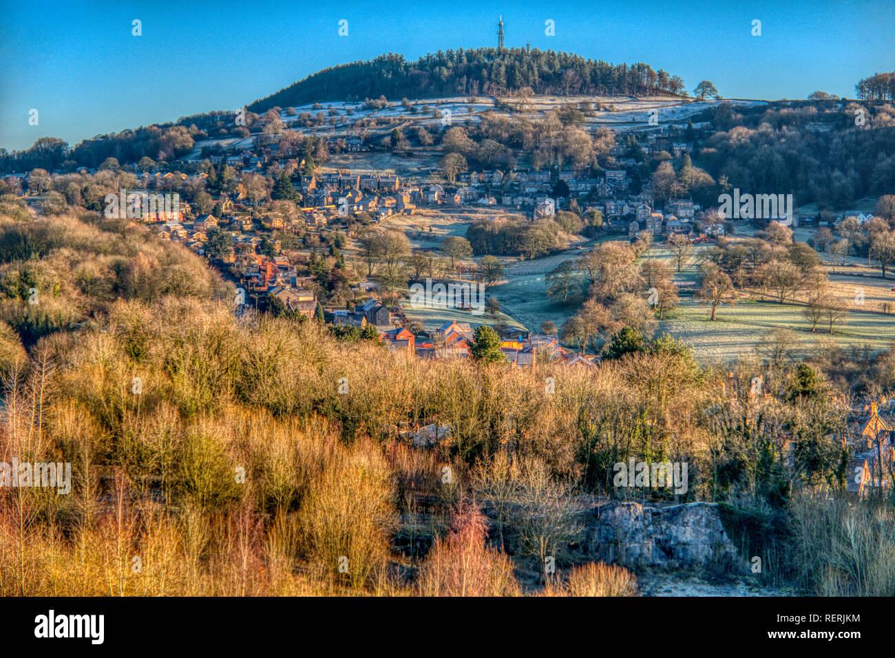 Bolehill, Derbyshire Dales. 23 Jan 2019. Météo France: une mince couche de neige sur un matin froid plus Bolehill, Derbyshire Dales, Peak District de: Doug Blane/Alamy Live News Banque D'Images