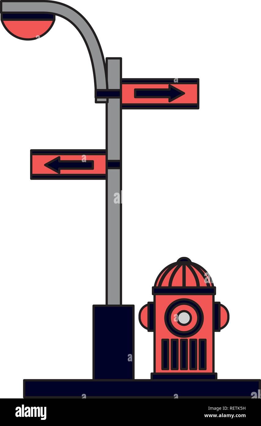 L'eau incendie incendie pôle trafic flèche de lumière Photo Stock