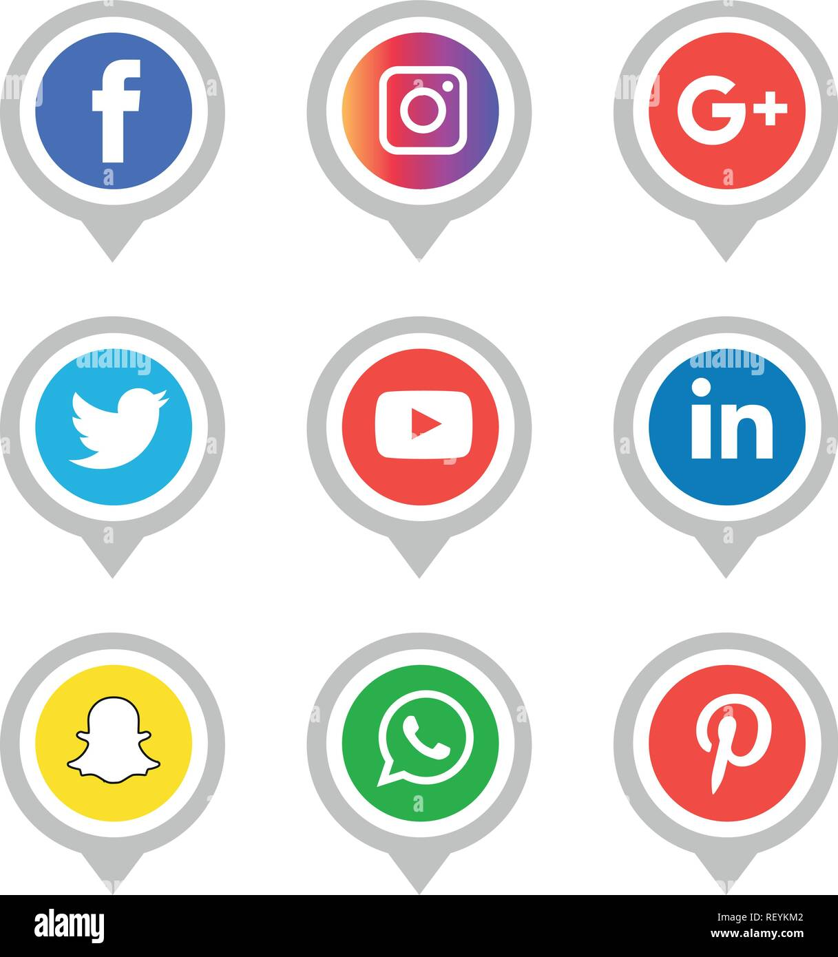 Social Media Icons Set Vector Illustrator Logo Facebook Instagram