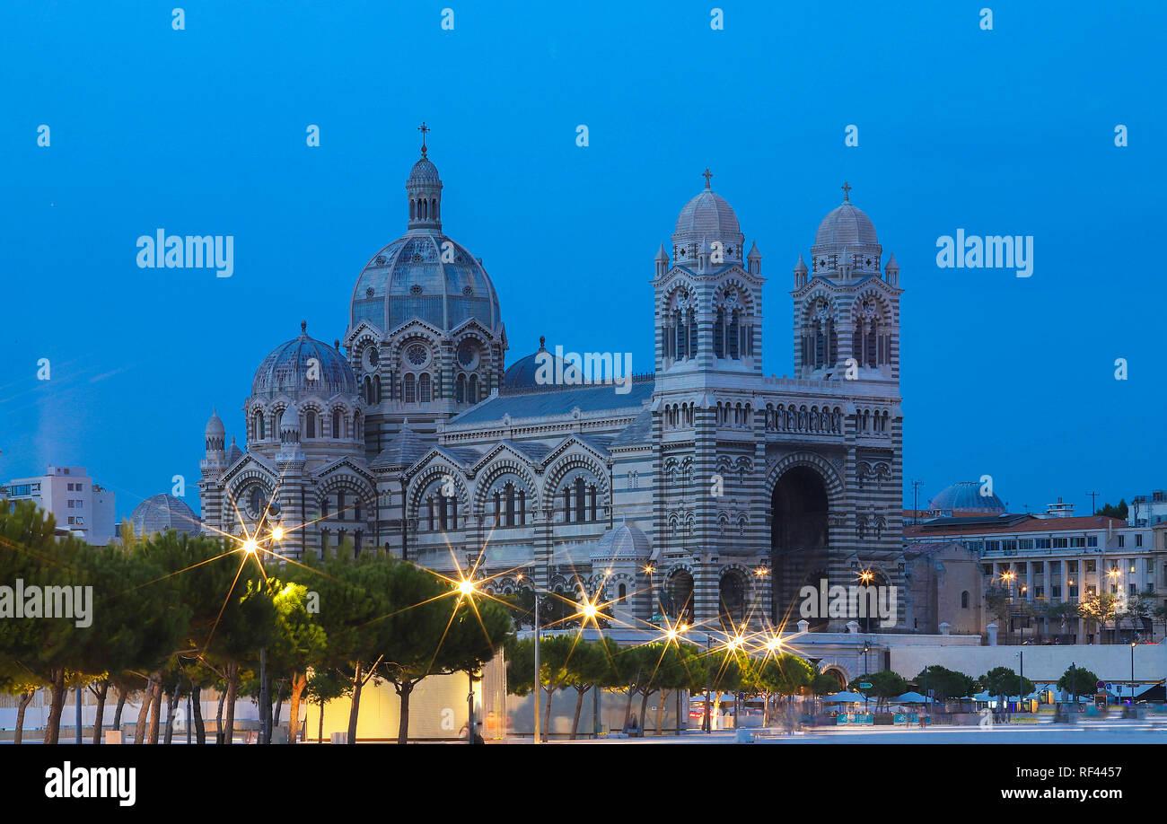 Vue générale de la cathédrale de Marseille, Sainte-Marie-Majeure, également connu sous le nom de la Major. Banque D'Images