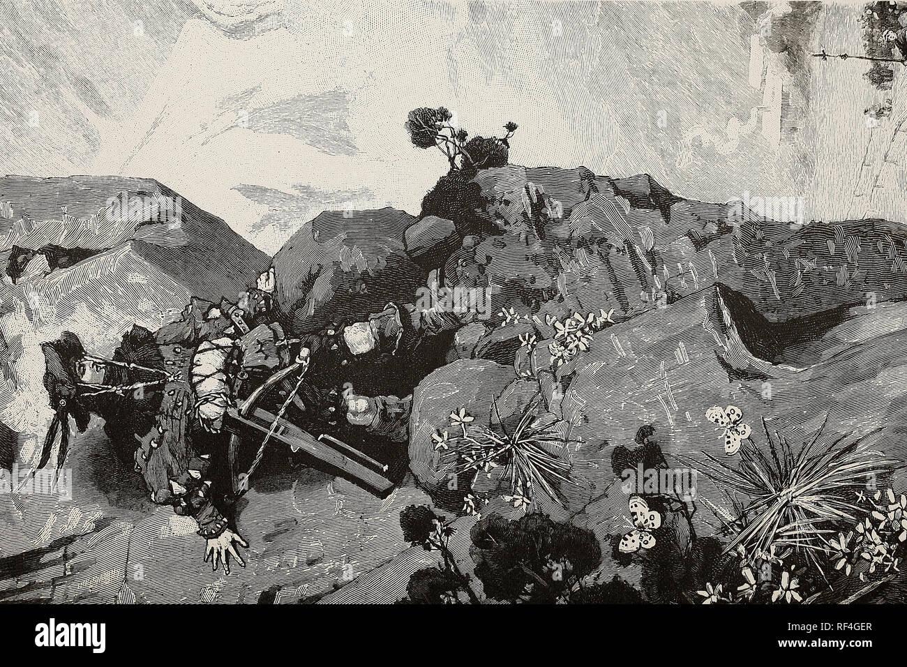 Les aventures de Maximilien - Le jeune héritier de l'empire mort échappe de justesse par une chute dans les Alpes Photo Stock