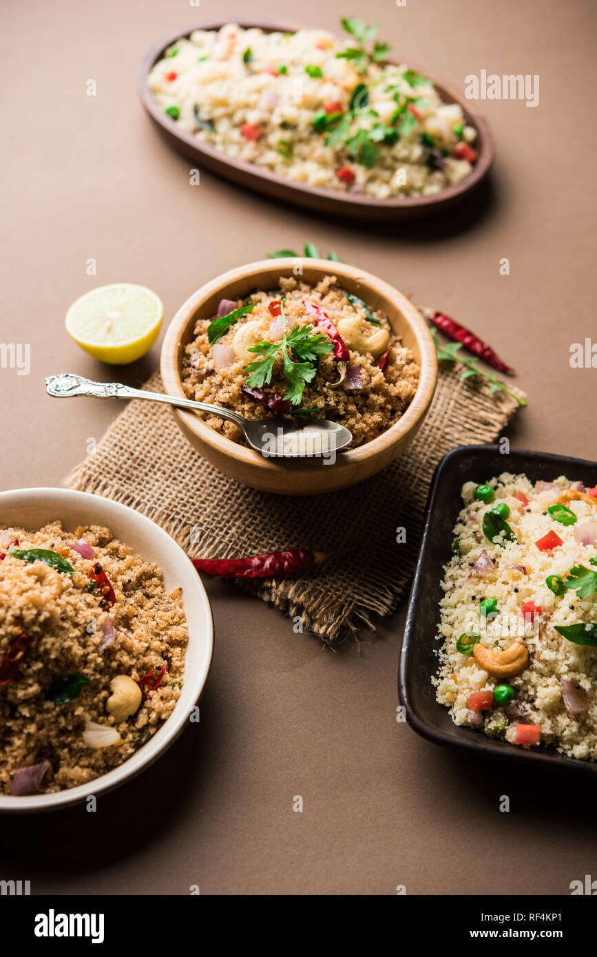 Rava Uppuma Upma / Inde du sud - petit déjeuner servi dans un bol. selective focus Banque D'Images