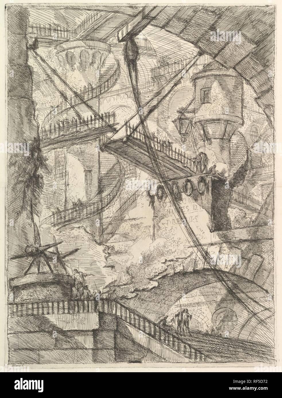 Le pont-levis, de Carceri d'invenzione (Prisons imaginaires). Artiste: Giovanni Battista Piranesi (Italien, Mogliano Veneto Rome 1720-1778). Dimensions: Plateau: 21 x 16 1/8 à 5/8. (54,9 x 40,9 cm): feuille 24 x 19 15/16 7/16 in. (63,4 x 49,3 cm). Editeur: Giovanni Bouchard (Français, ca. 1716-1795). Series/portefeuille: Carceri d'invenzione. Date: ca. 1749-1750. Musée: Metropolitan Museum of Art, New York, USA. Banque D'Images