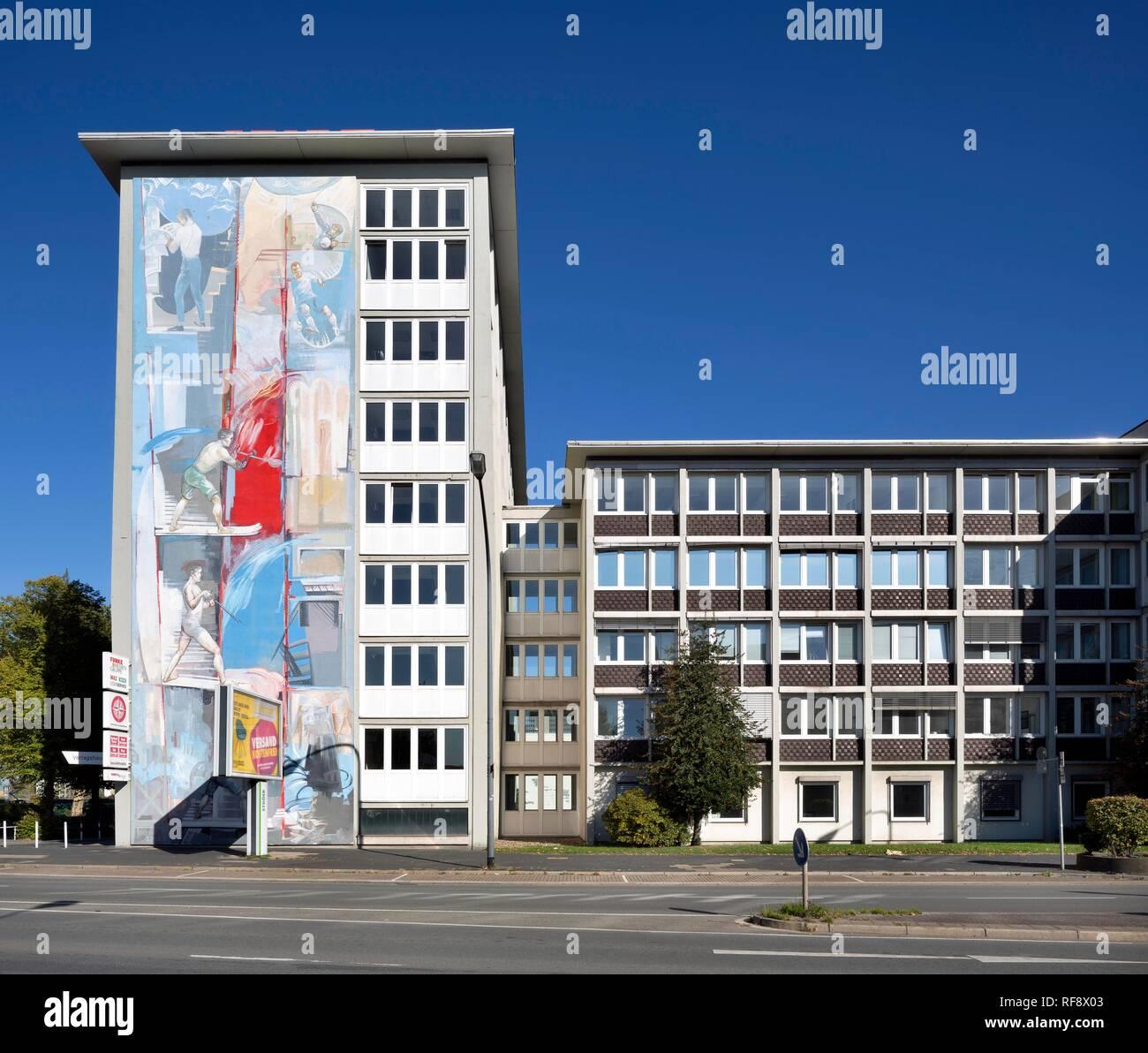Éditorial de l'édition et de la Westdeutsche Allgemeine Zeitung, bâtiment, Funke WAZ Media Group, Essen, Ruhr Photo Stock