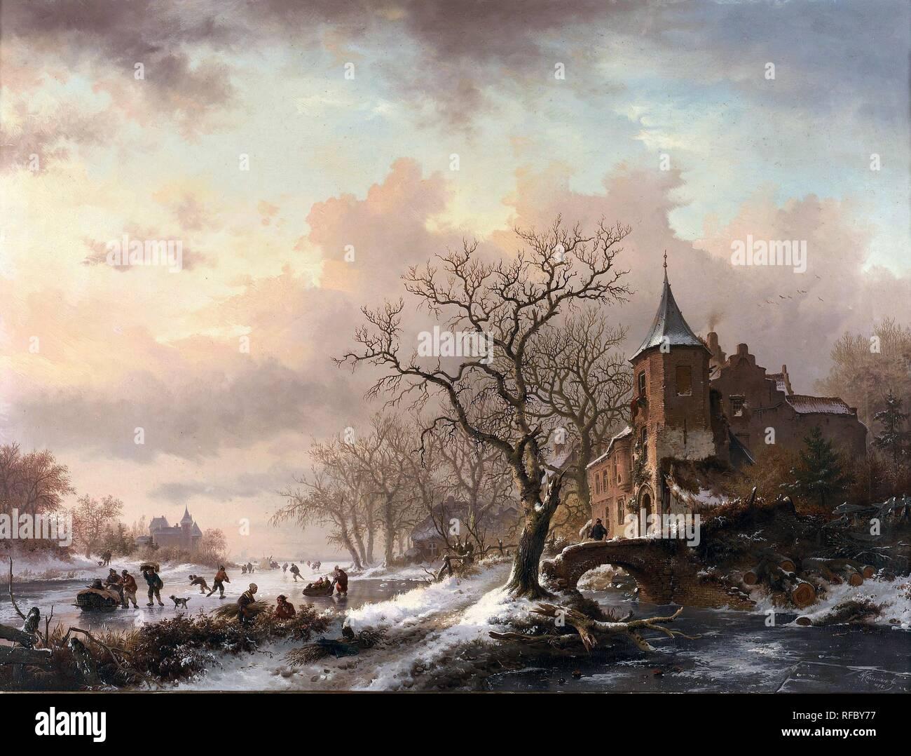 Frederik Marinus Kruseman - collection privée. Titre: Château dans un paysage d'hiver et des patineurs sur une rivière Fozen. Date: 1855. Matériel: Huile sur panneau. Dimensions: 48 x 63,5 cm. Inscriptions: FMKruseman /fc 1855 (en bas). righr Vendu par Bonhams à Londres, le 16 juin 2004. Source: http://commons.wikimedia.org/wiki/File:Frederik_Marinus_Kruseman_-_Kasteel_in_een_winterlandschap_en_schaatsers_op_een_bevroren_rivier.jpg. J'ai changé la lumière, le contraste et les couleurs de la photo d'origine. Banque D'Images