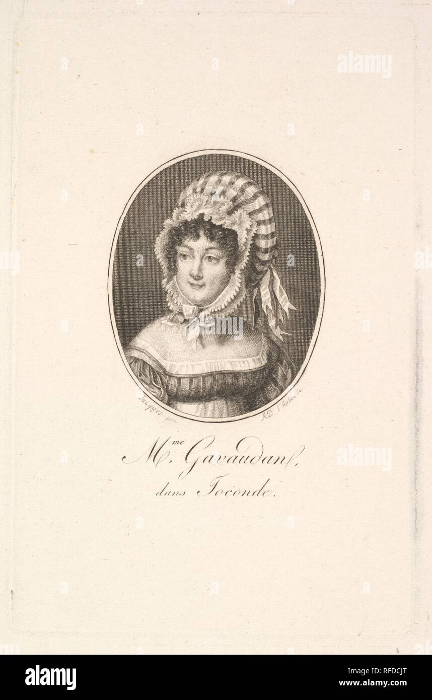 Portrait de madame Gavaudan. Artiste: Augustin de Saint-Aubin (français, Paris 1736-1807 Paris). Fiche Technique: Dimensions: 13/16 9 × 7 5/16 in. (25 × 18,6 cm) Plaque: 5 × 3 13/16 3/4 in. (14,8 × 9,6 cm). Musée: Metropolitan Museum of Art, New York, USA. Banque D'Images