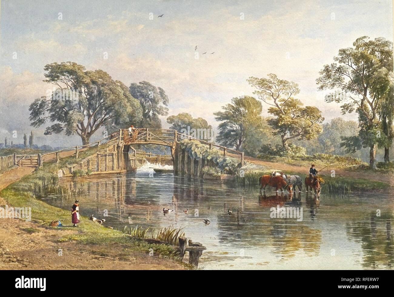 GEORGE ARTHUR FRIPP - b 1821- D 1906 Weybridge, inscrit au titre signé et daté 1865, aquarelle rehaussée de blanc.jpg - RFERW7 Photo Stock