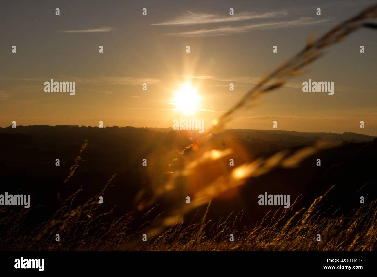 Coucher du soleil dans le Dorset Photo Stock