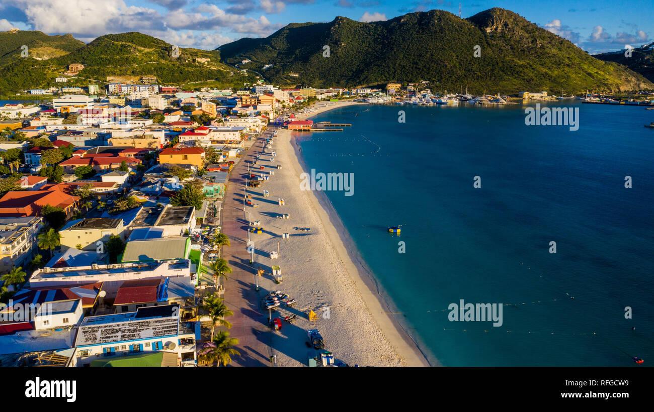 Grand Bay Beach, Philipsburg, Saint Martin, St Martin, Saint Martin de la mer des Caraïbes Banque D'Images