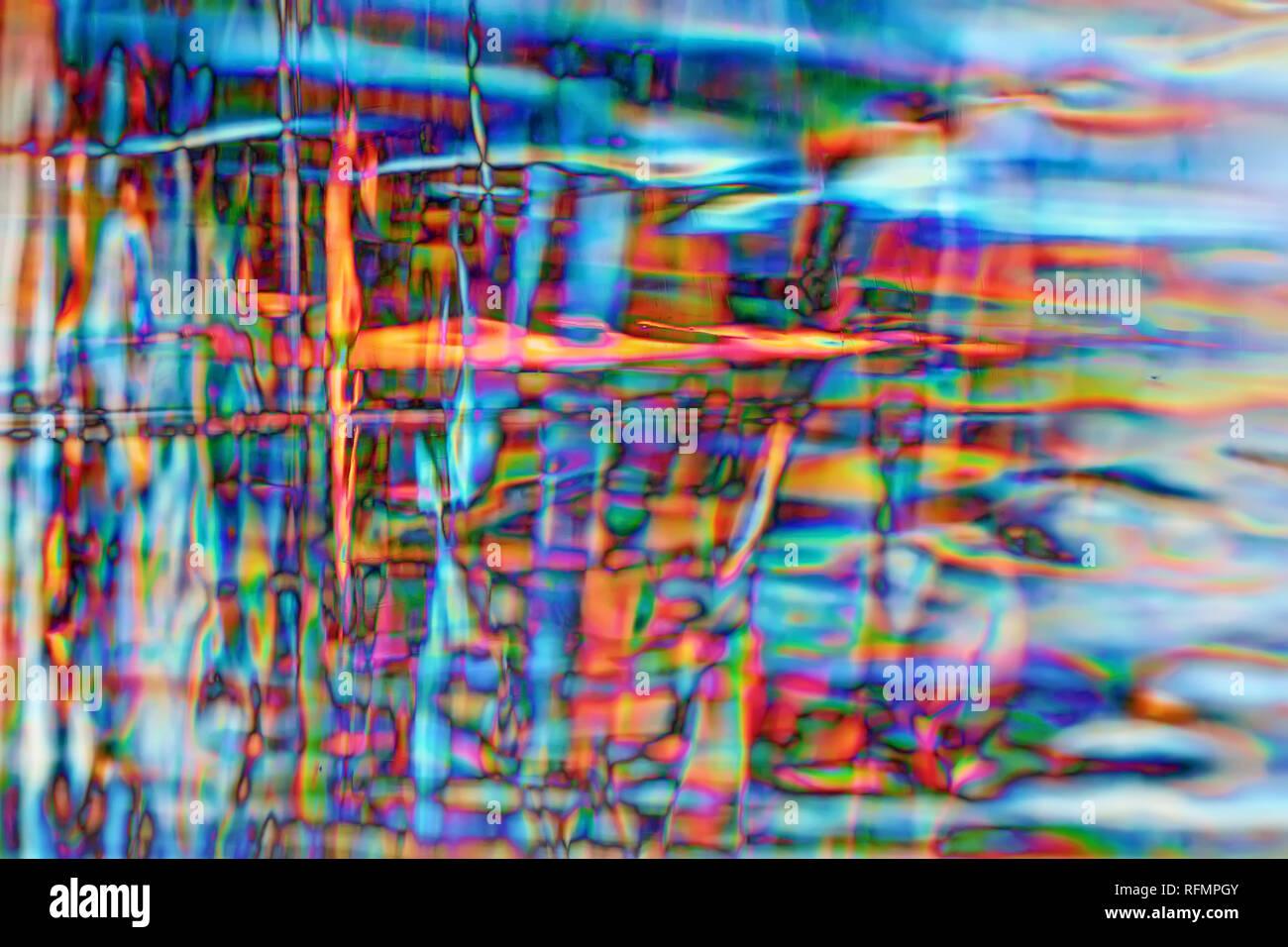 La réfraction colorés dans un bloc de glace Photo Stock
