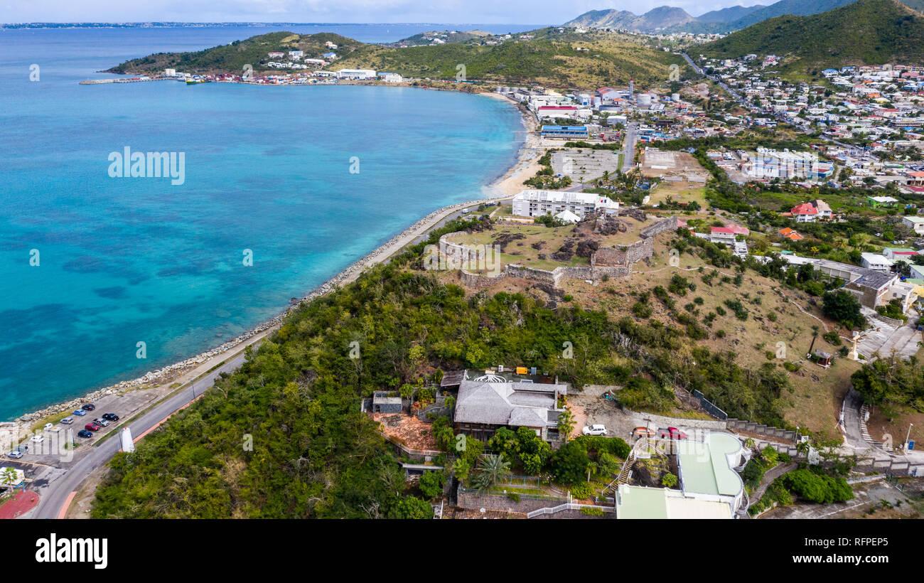 Le fort Louis, à Marigot, Saint Martin, St Martin, Saint Martin de la mer des Caraïbes Banque D'Images