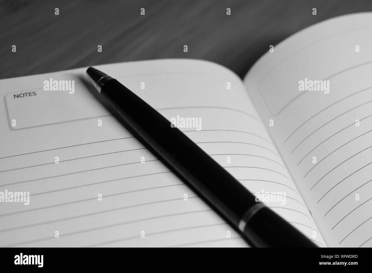 Ordinateur portable ouvert avec un stylo Banque D'Images