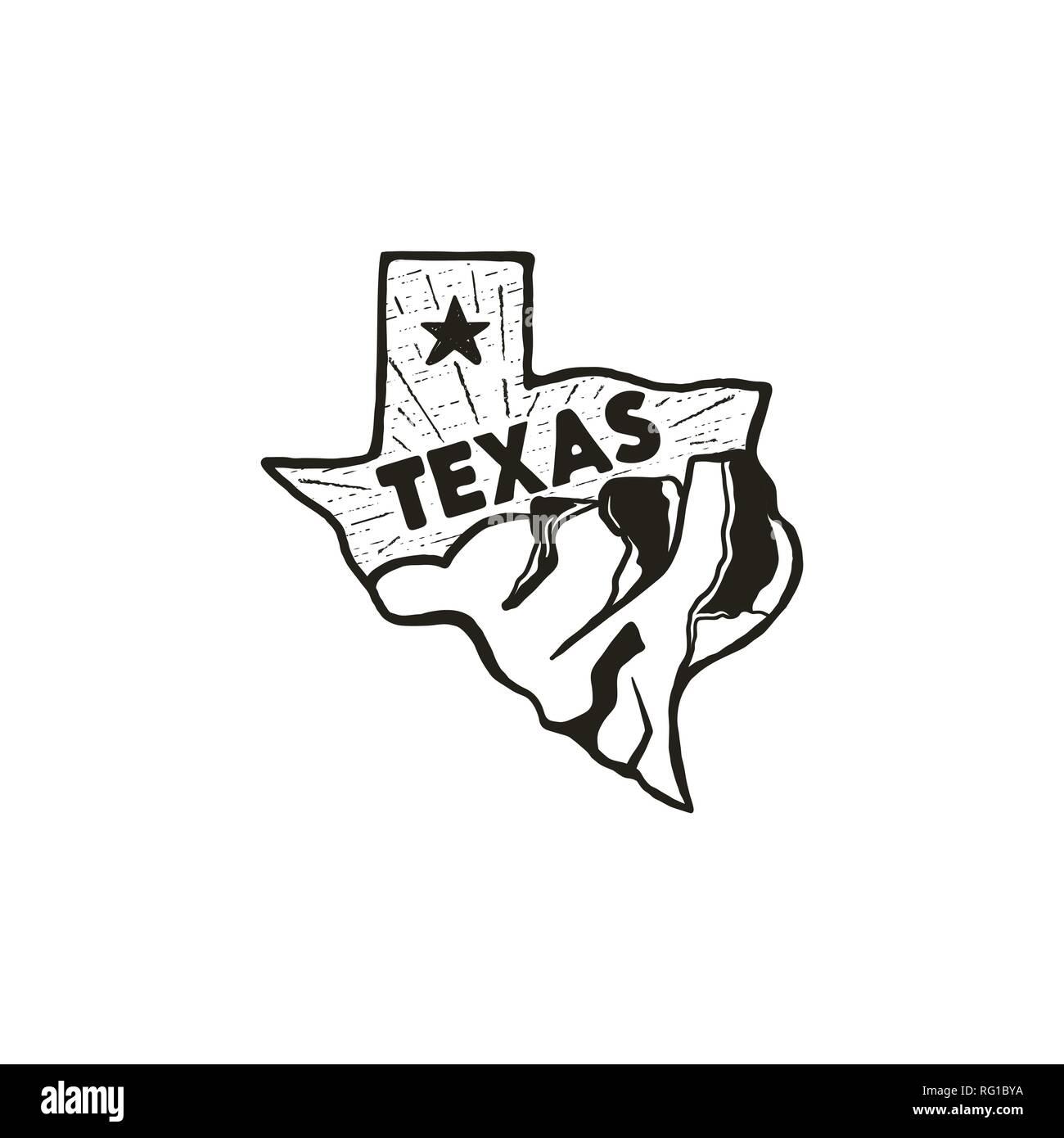 Dessiné à la main vintage badge badge de l'état du Texas, aux États-Unis. Icône de style Silhouette, logo. Avec les montagnes et les étoiles. Patch rétro, logotype. Pour Nice Illustration de Vecteur