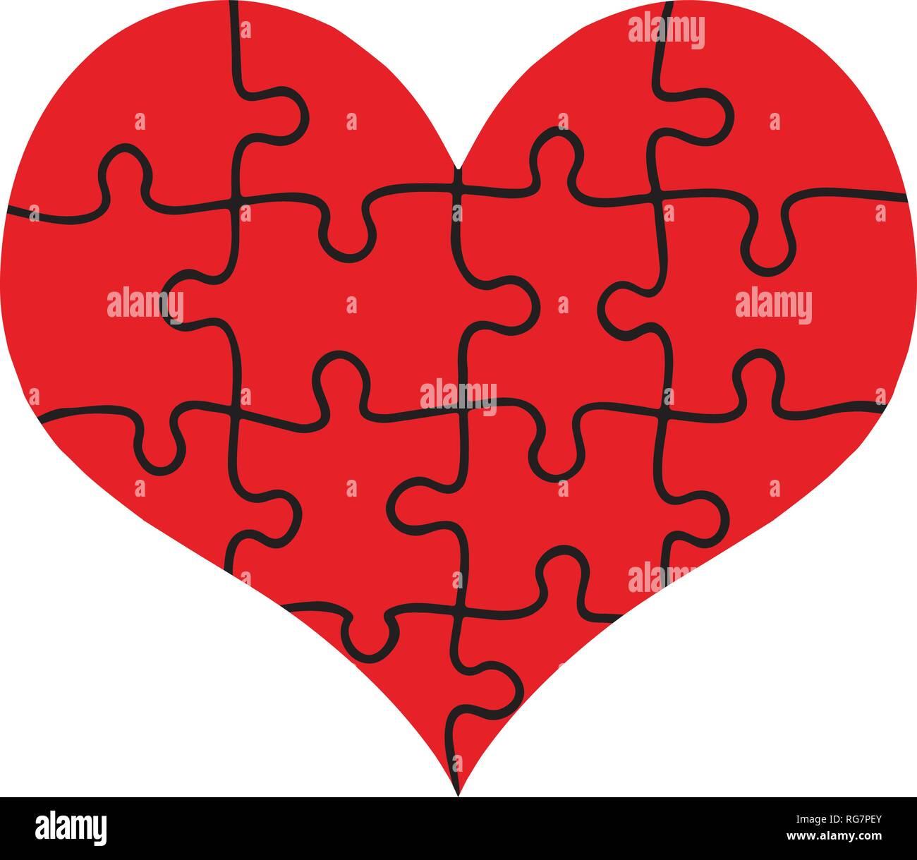 Coeur rouge assemblé de pièces de puzzle isolé sur fond blanc. L'amour, le mariage, la charité. Modèle plat. Jigsaw avec tous les morceaux assemblés formant B Illustration de Vecteur