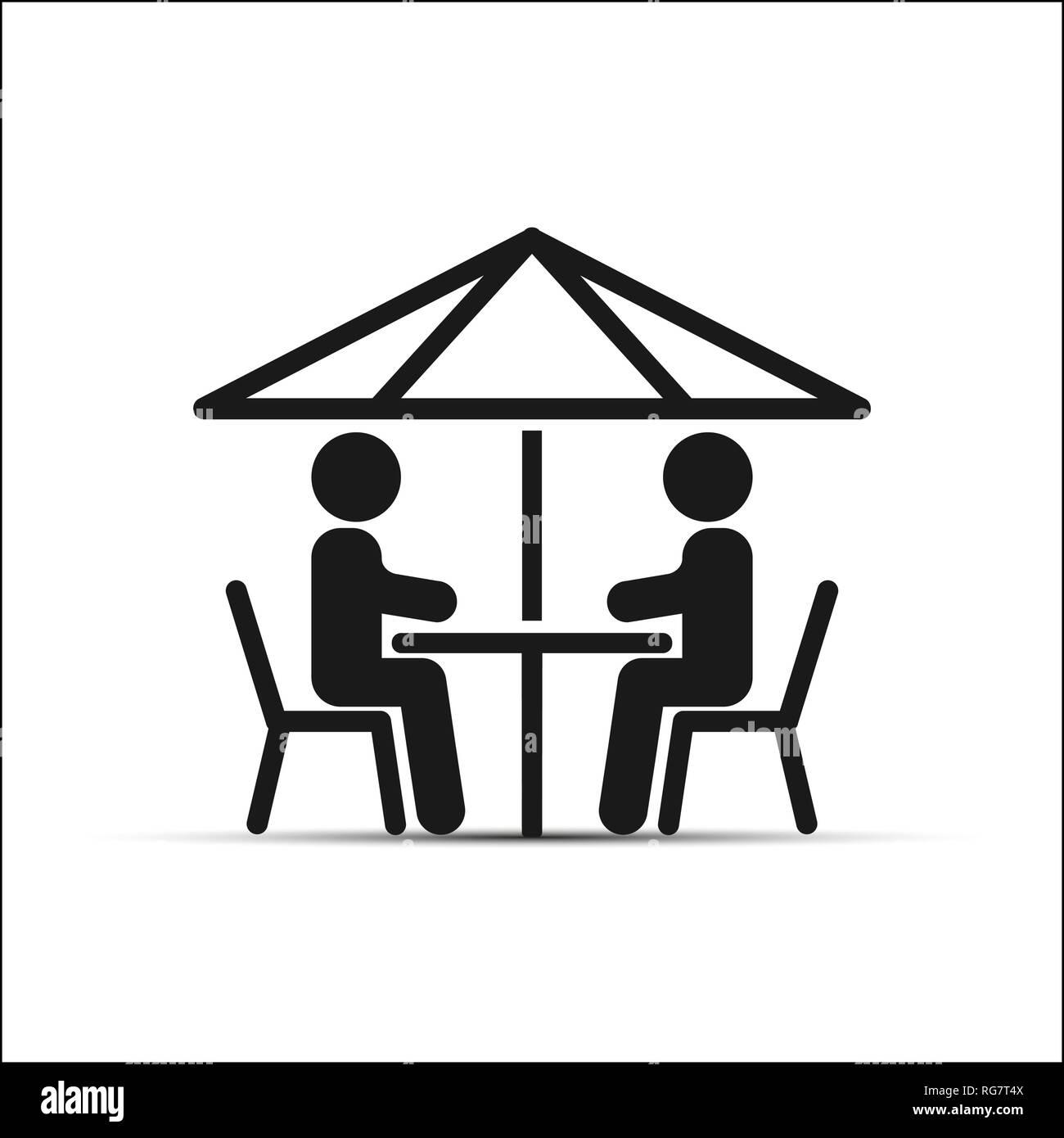 Dessin Simple Deux Personnes Assises A Une Table Sous Un Parapluie Image Vectorielle Stock Alamy
