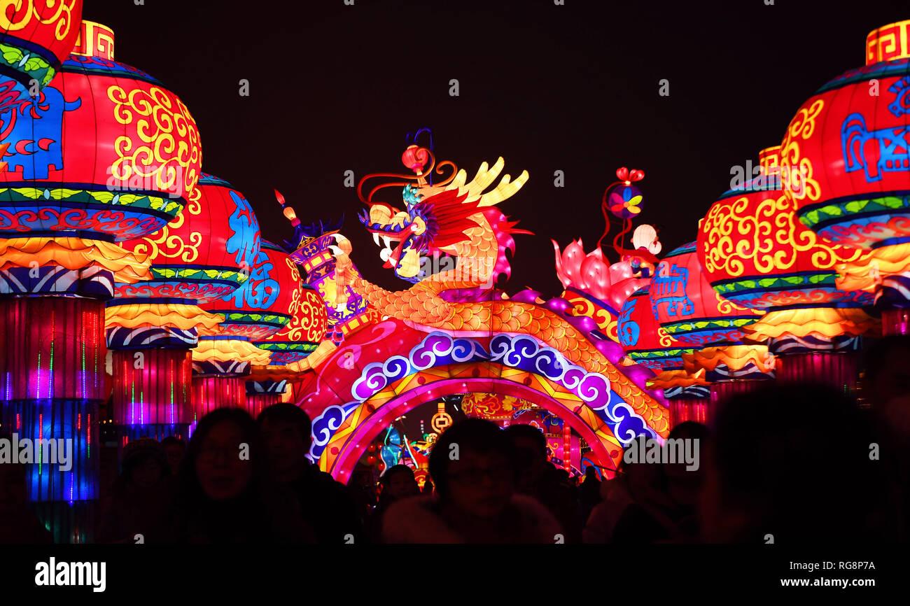 Xi'an, province du Shaanxi en Chine. 28 janvier, 2019. Lanternes fantaisie sont vus à un spectacle de lumière sur le mur de la ville de Xi'an, province du Shaanxi du nord-ouest de la Chine, le 28 janvier 2019. La lumière salon a ouvert ses portes au public le lundi. Avec plus de 10 000 feux de fantaisie dans cinq secteurs de feux, la lumière a fait l'ancien mur de la ville splendide et glorieux. Credit: Liu Xiao/Xinhua/Alamy Live News Photo Stock