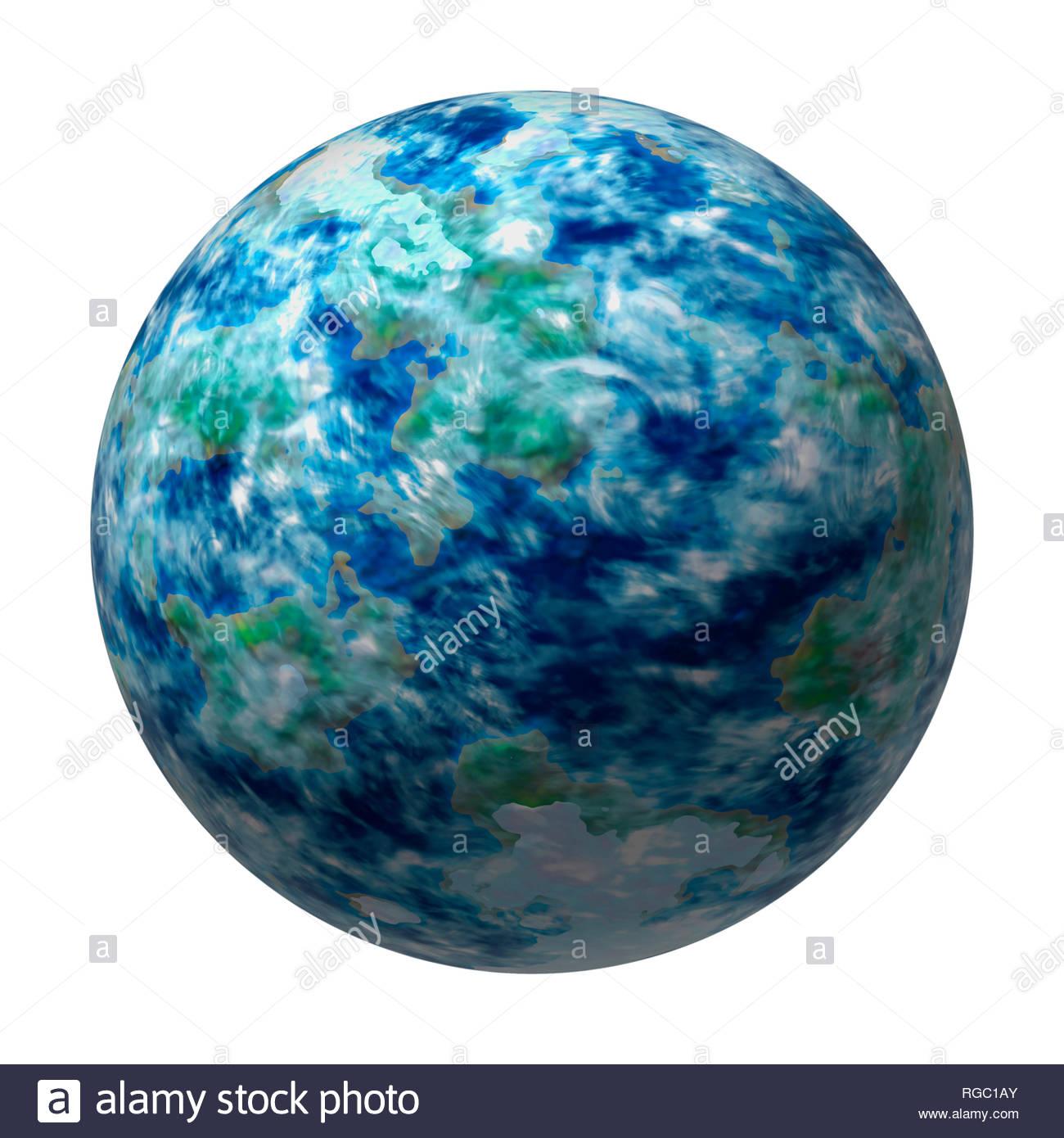La Terre comme planète terrestre générique avec l'atmosphère, mais pas la terre Photo Stock