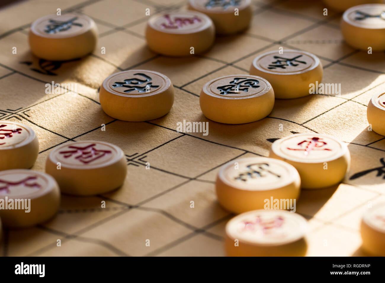 Jeu entre échecs chinois Banque D'Images