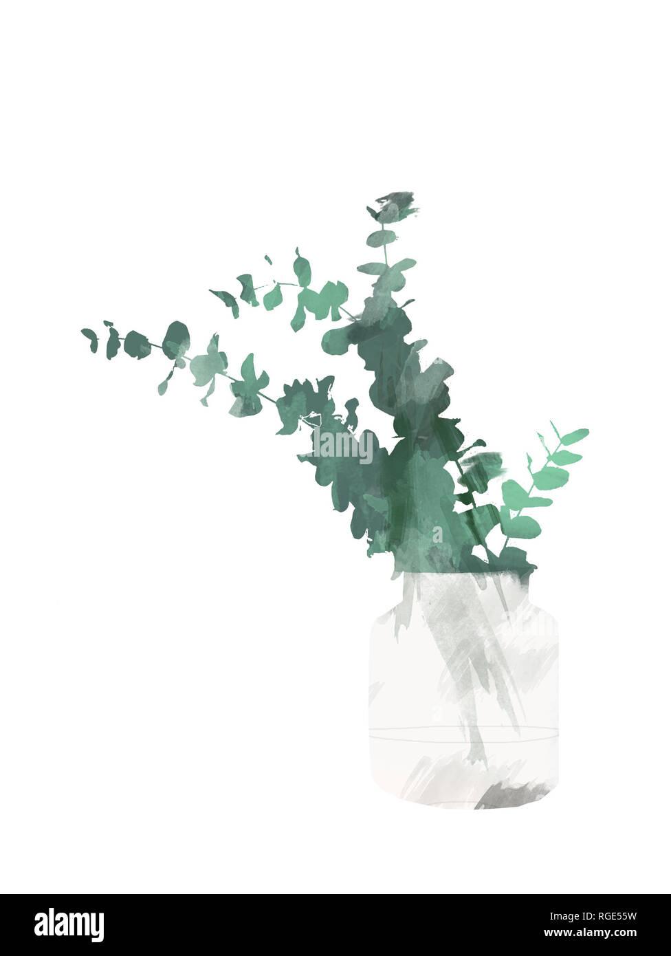 Eucalyptus peint à la main dans la bouteille ou le vase isolé sur fond blanc. Clip art botanique floral pour la conception ou d'impression - Illustration aquarelle Photo Stock