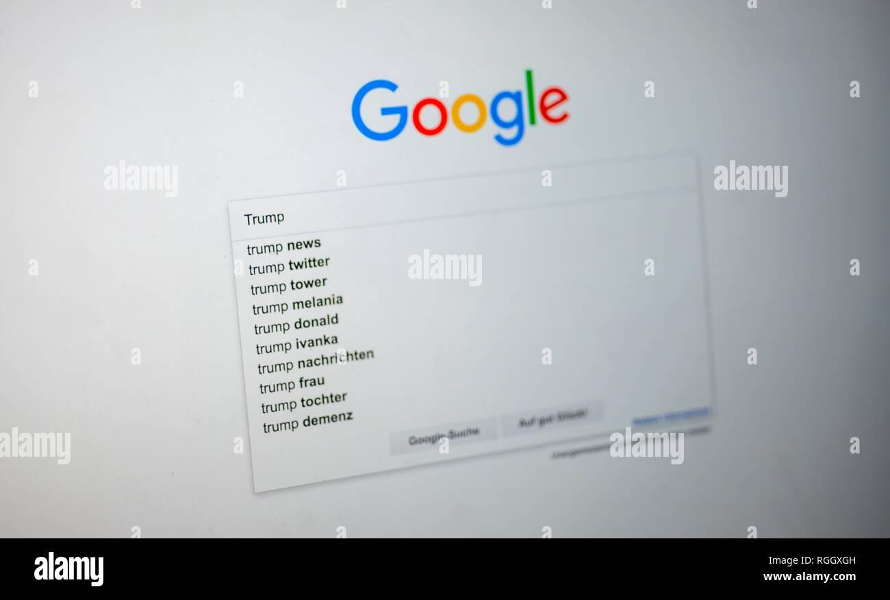 Page d'accueil de Google, avec l'entrée de recherche Trump, moteur de recherche, Internet, écran, Allemagne Photo Stock