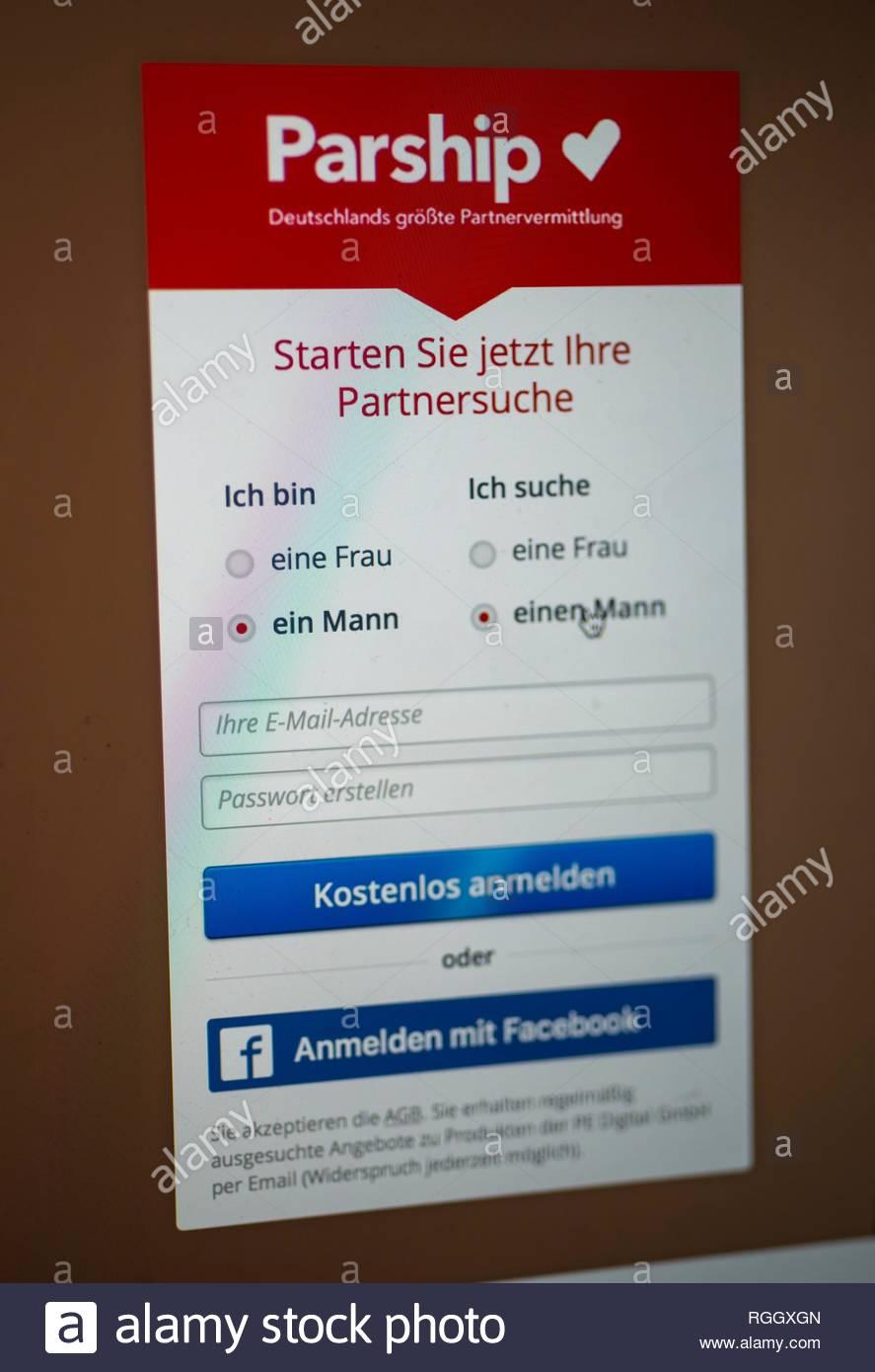 Parship, site de rencontres, site de rencontres, page d'accueil avec des recherches entrée man man, réseaux sociaux, Internet, écran, Allemagne Photo Stock