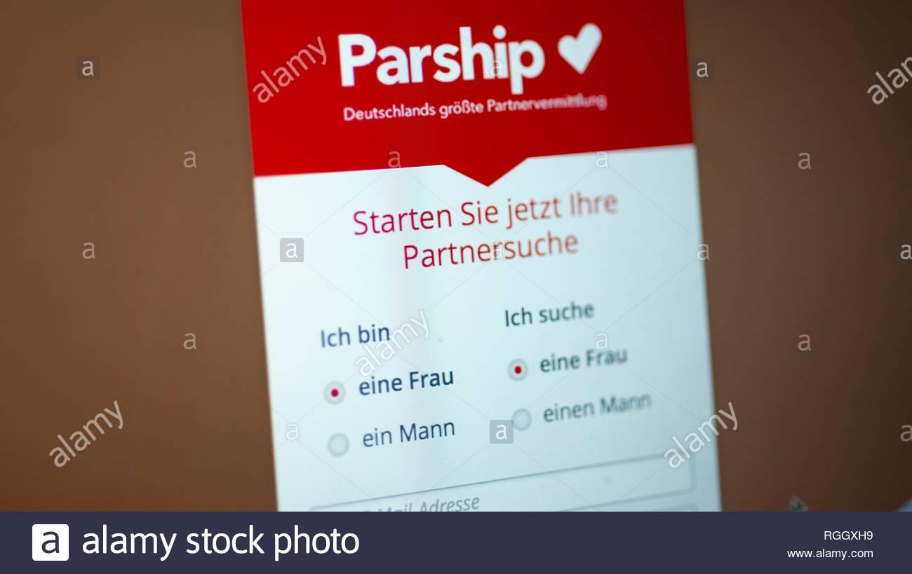 Parship, site de rencontres, site de rencontres, page d'accueil avec l'entrée de recherche femme à femme, Logo, réseaux sociaux, Internet Photo Stock