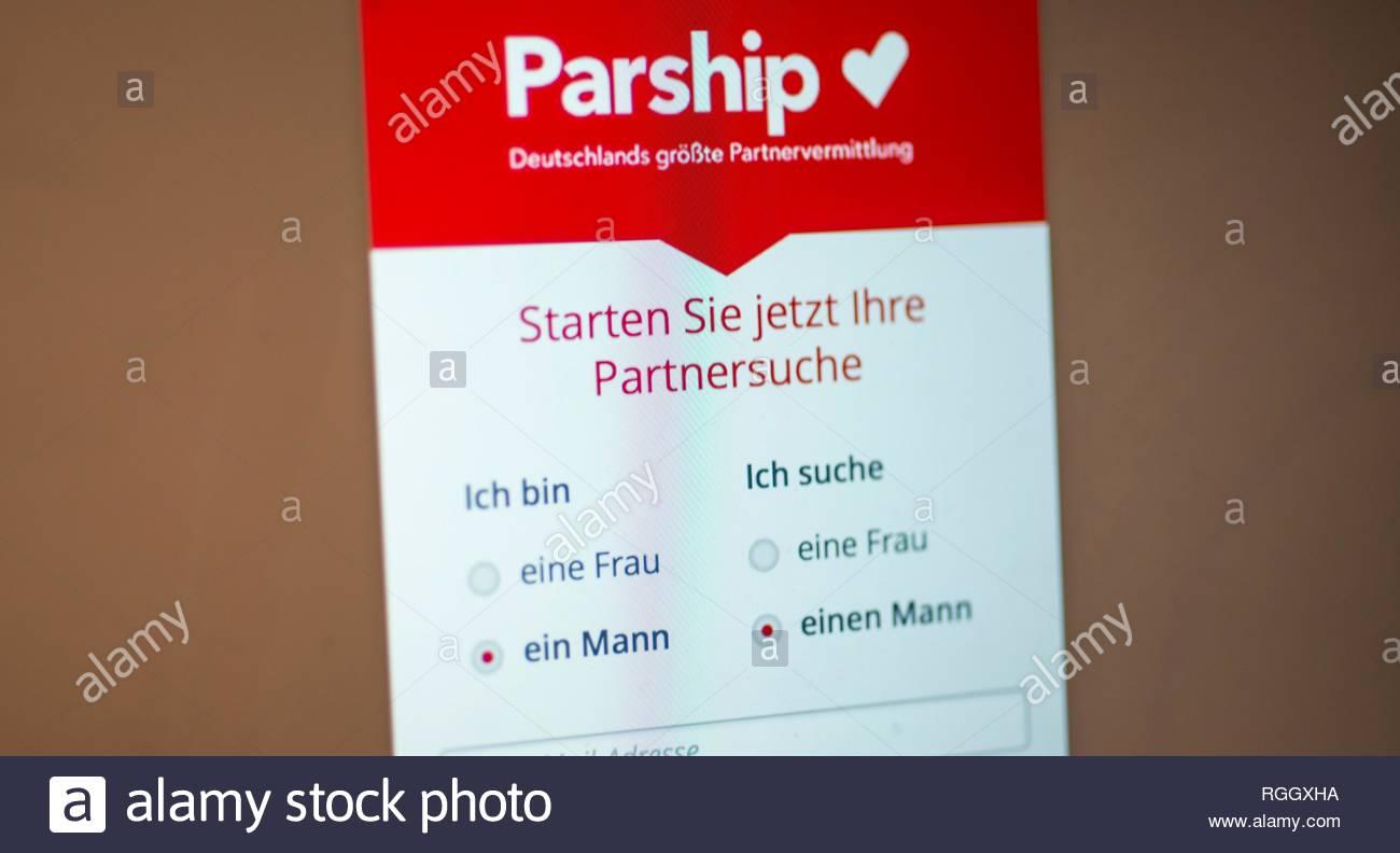 Parship, site de rencontres, site de rencontres, Home page avec entrée de la recherche à la recherche d'homme, Logo, réseaux sociaux, Internet, capture d'écran Photo Stock