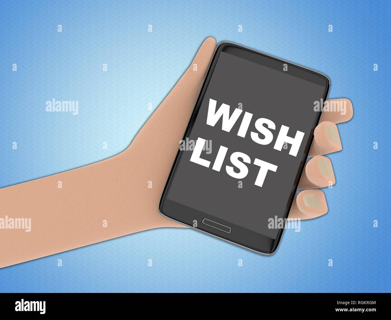 Illustration 3D de la liste de souhaits script sur l\u0027écran d\u0027un téléphone