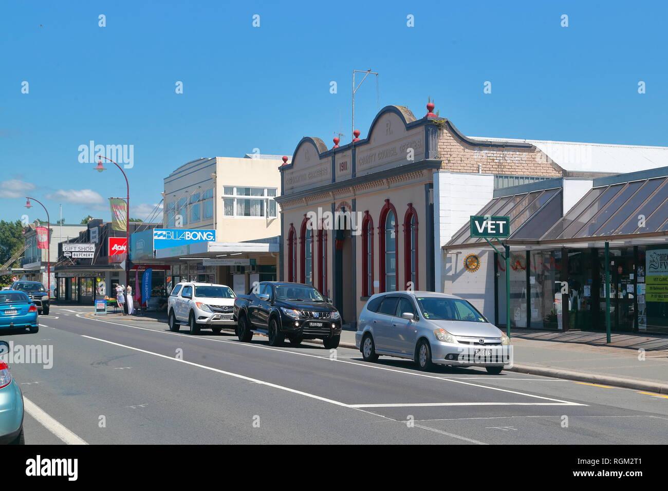 Avis de Belmont Rd dans Paeroa, Nouvelle-Zélande Photo Stock