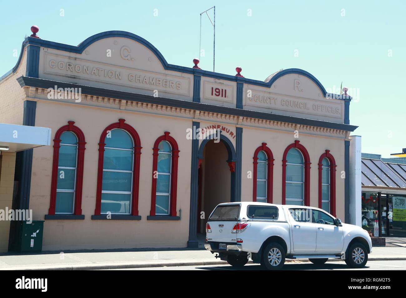 Les bureaux du conseil de comté vieux Paeroa, Nouvelle-Zélande Photo Stock