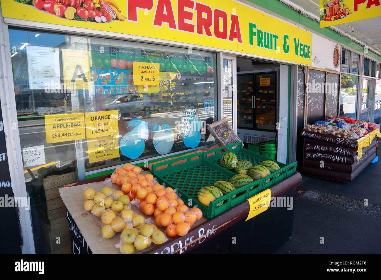 Les fruits et légumes à Belmont Road, Paeroa, Nouvelle-Zélande Photo Stock