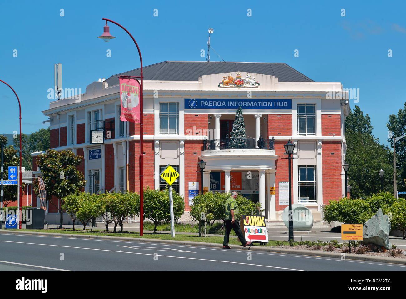 Ancien bureau de poste à Paeroa, Nouvelle-Zélande Photo Stock