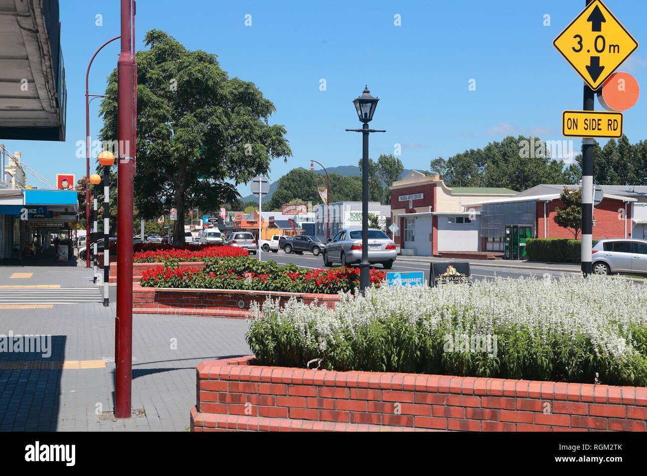 Le centre-ville de Paeroa, Nouvelle-Zélande Photo Stock