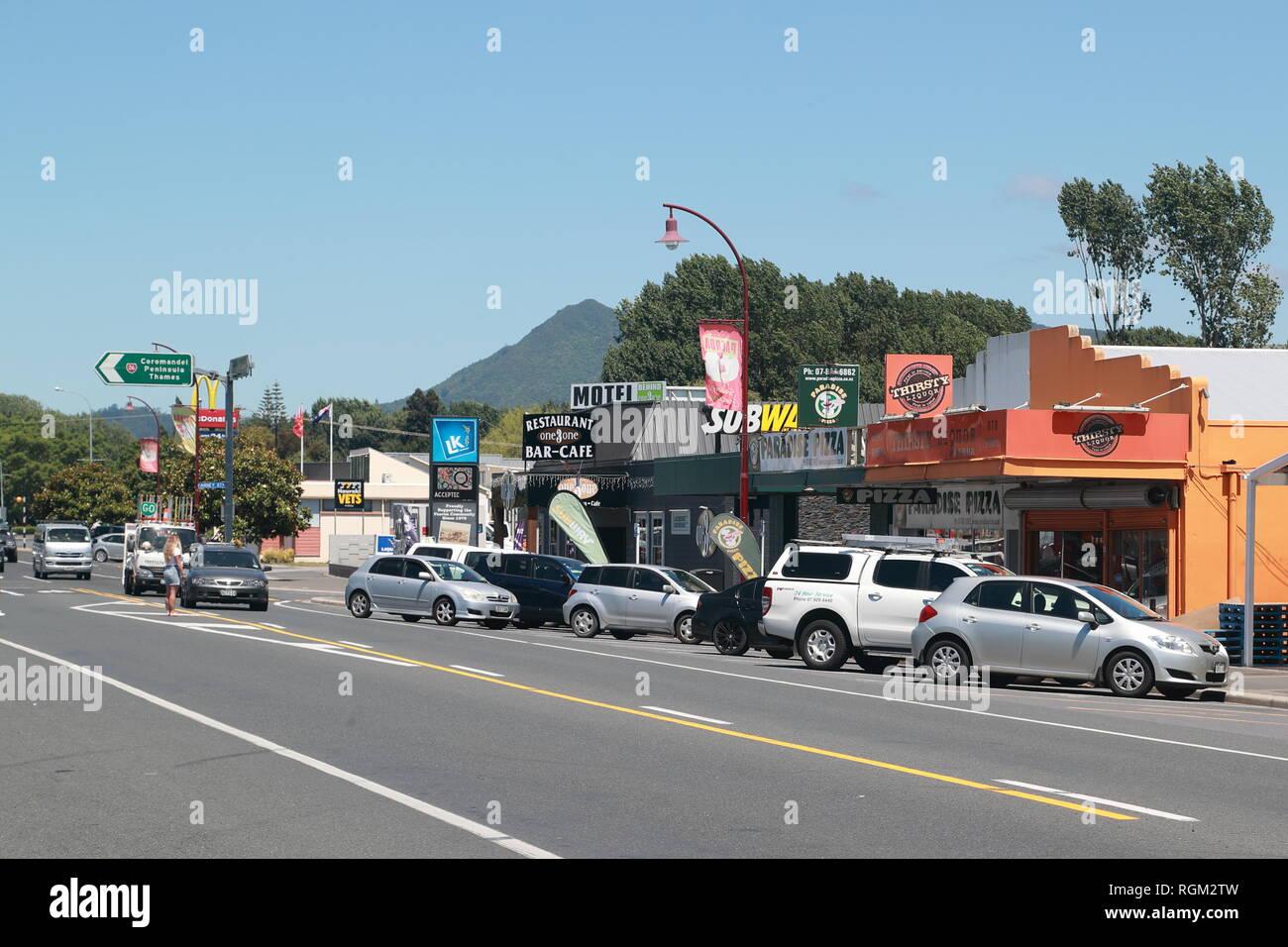 Belmont Road à Paeroa, Nouvelle-Zélande Photo Stock