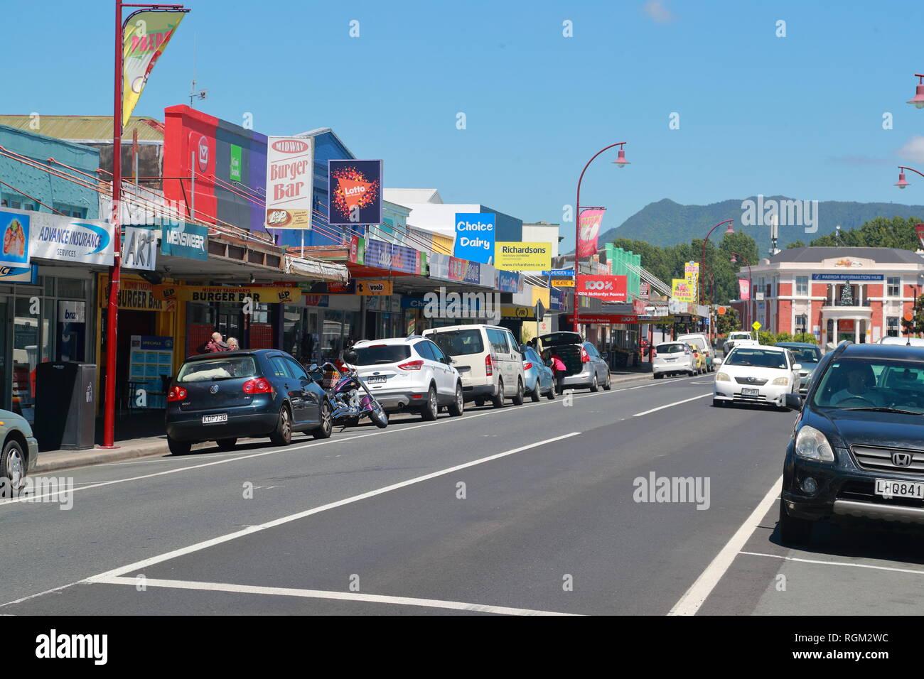 Galerie marchande à Belmont Road, Paeroa, Nouvelle-Zélande Photo Stock