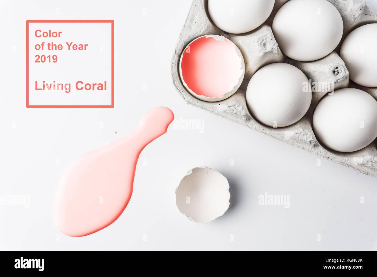 De coraux vivants concept minimal. Couleur de l'année 2019 concept. 2019 texture peinture corail vivant. Fond rose Photo Stock