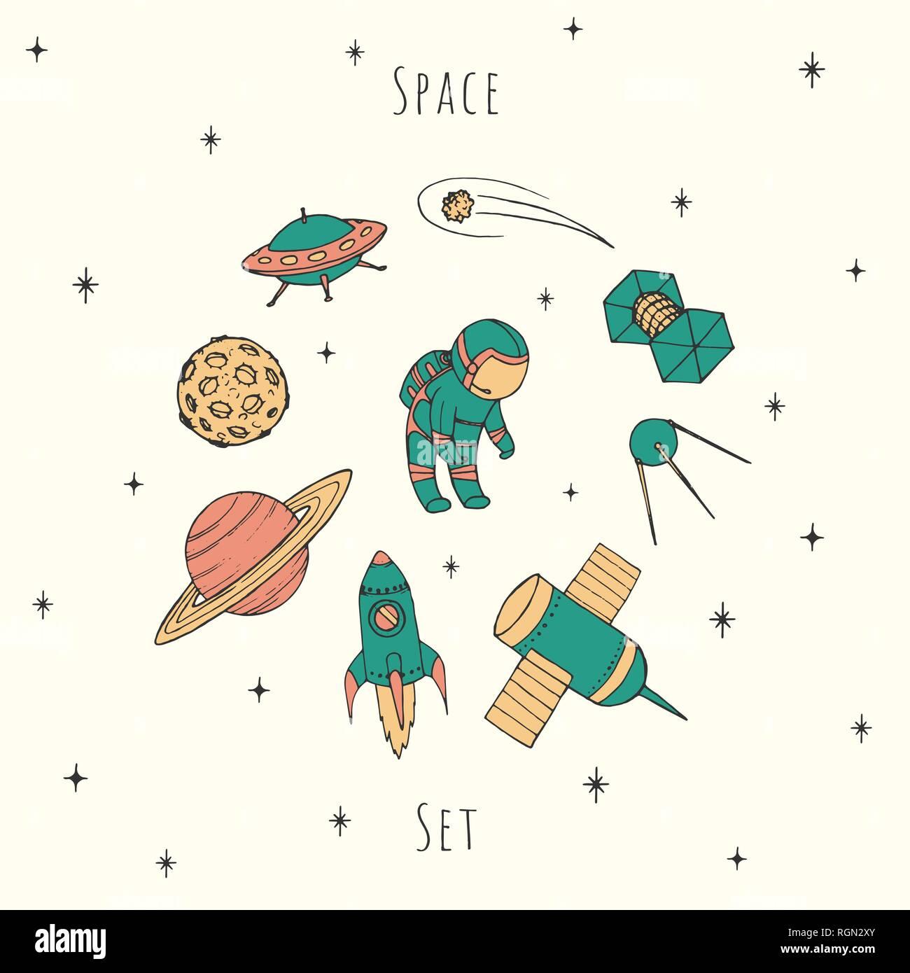 Vecteur dessiné à la main les éléments d'espace: cosmonaute, satelites, rocket, planètes, étoiles chute et OVNI. Situé dans cosmos coloré couleurs rétro. Illustration de Vecteur