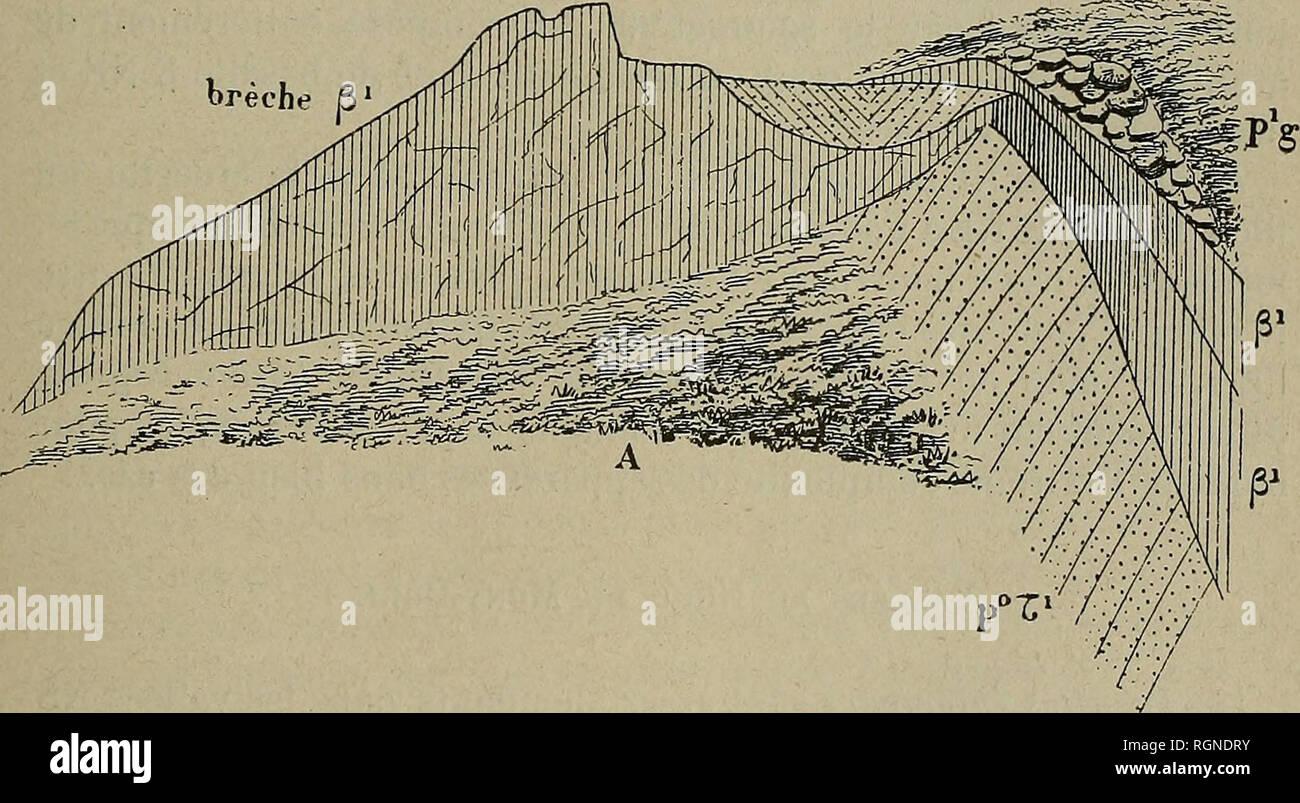 """. Bulletin de la Société géologique de France. La géologie. 1890 MICÃEL LÃVY. """"LE MONT-DÃRà 771 chit et descendre, en ravinant la cinérite suivant une pente de plus de 25°; d'énormes blocs erratiques de trachyte ont été portés par les glaces sur ce basalte p^ (Fig. 42). Nous allons insister sur une série plus difficile qui divergent des environs de Beaune, et de la Dent du Marais (Saut de la Pucelle), pour aboutir au-dessus de Murols et lancer une digitation le long du plateau au nord de St-Nectaire. Nous nous représentons la Dent du Marais comme une des bouches de sortie de ce vaste plate Banque D'Images"""