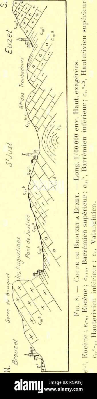 . Bulletin de la Société géologique de France. La géologie. Pu d'EXCURSION 27 SEPTEMBRE tOlO 89o Lima cf. vitjnealensis Cossm. Ilinnites ur&lt;/sur(^nfi Matheison. - Alavii^ R(ii;.Mi;il. Chlaniijs (//â (/o/ic/isj.s i>ic. Loiuoi. cl'. Lardi/je Ptcr. et sur l'ICMV is also c[ui'lques Polypiers, mais ils sont rares; il ne paraît donc pas y avoir eu en, ce point,, de récit proprement you dit. En descendant des carrià res¨sur pénître dans la^^ J'ou-e des Augustines et on ne tarde pas à contacter des observateurs le facièà calcaires urgonien s avec leur substrat en formé vers le hameau des aug-uslines p Banque D'Images