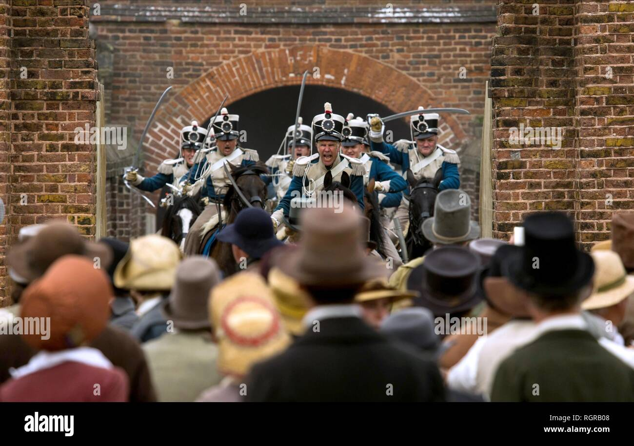 CHARGE DES SOLDATS PROTESTATAIRES PETERLOO (2018) Photo Stock