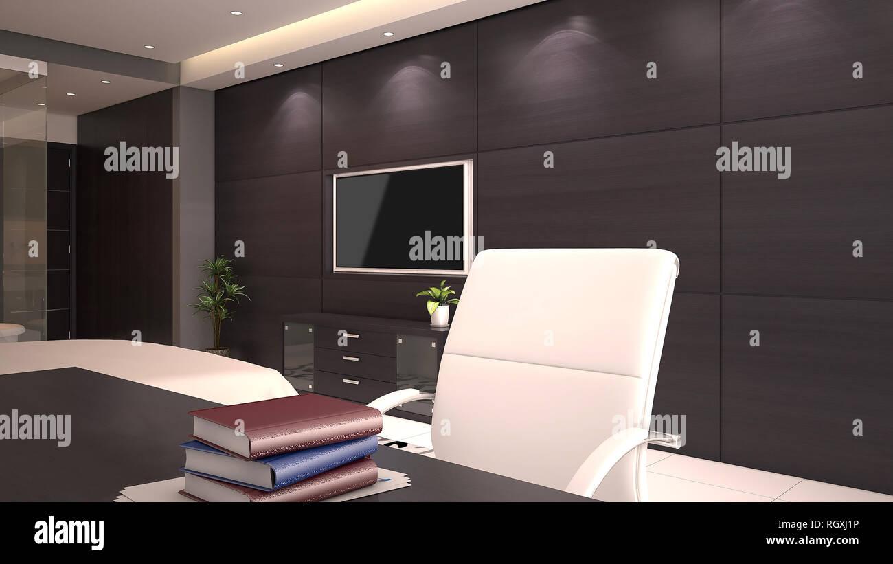 3D Render Of Chambre Du0027hôtel Du0027un Bureau Avec Des Livres Sur Le Bureau