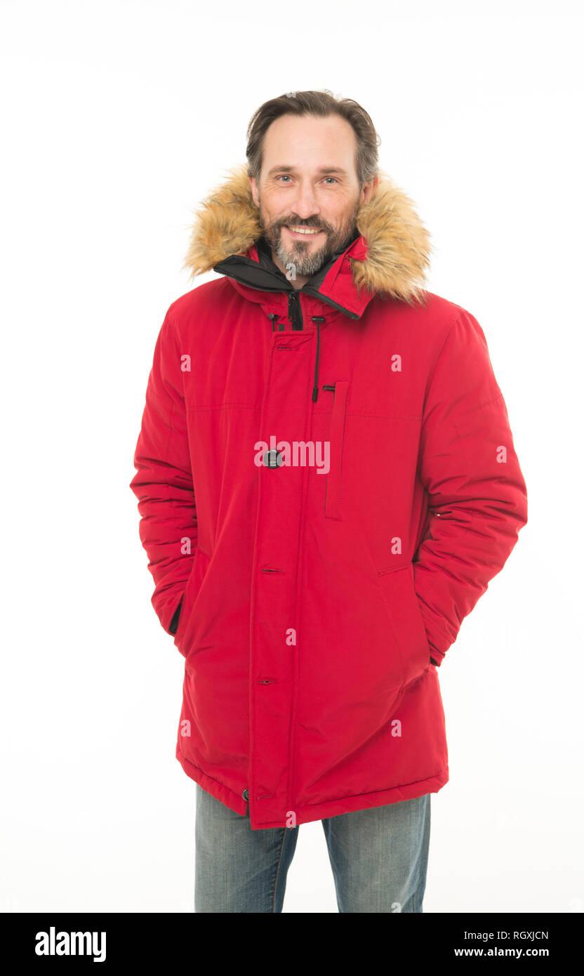 446dabdee23c1c Garder au chaud. Vêtements pour homme élégant d'hiver. Hipster barbu homme  porter veste chaude fourrure ...